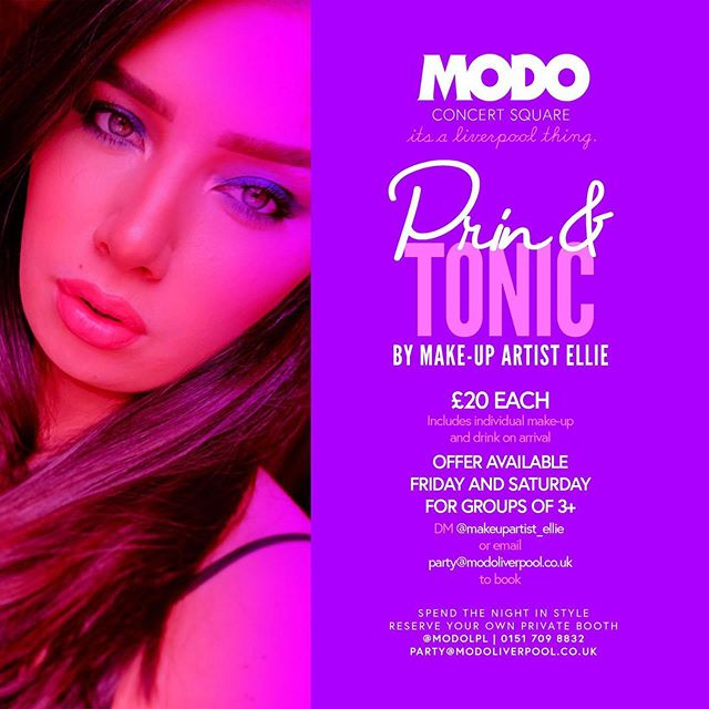 Our talented make up artist Ellie will give you and your group a complete make up session here in MODO so you all look goam and gorgeous ready for your night out! 💅🏻🥂(you get a drink on arrival too! 🙌) Fridays & Saturdays Groups of 3 or more only £20 per person  Bookings: DM @makeupartist_ellie  or email party@modoliverpool.co.uk  #prin #tonic #gin #makeup #contouring #modo #modoliverpool #concertsquare #henparty #bridesmaids