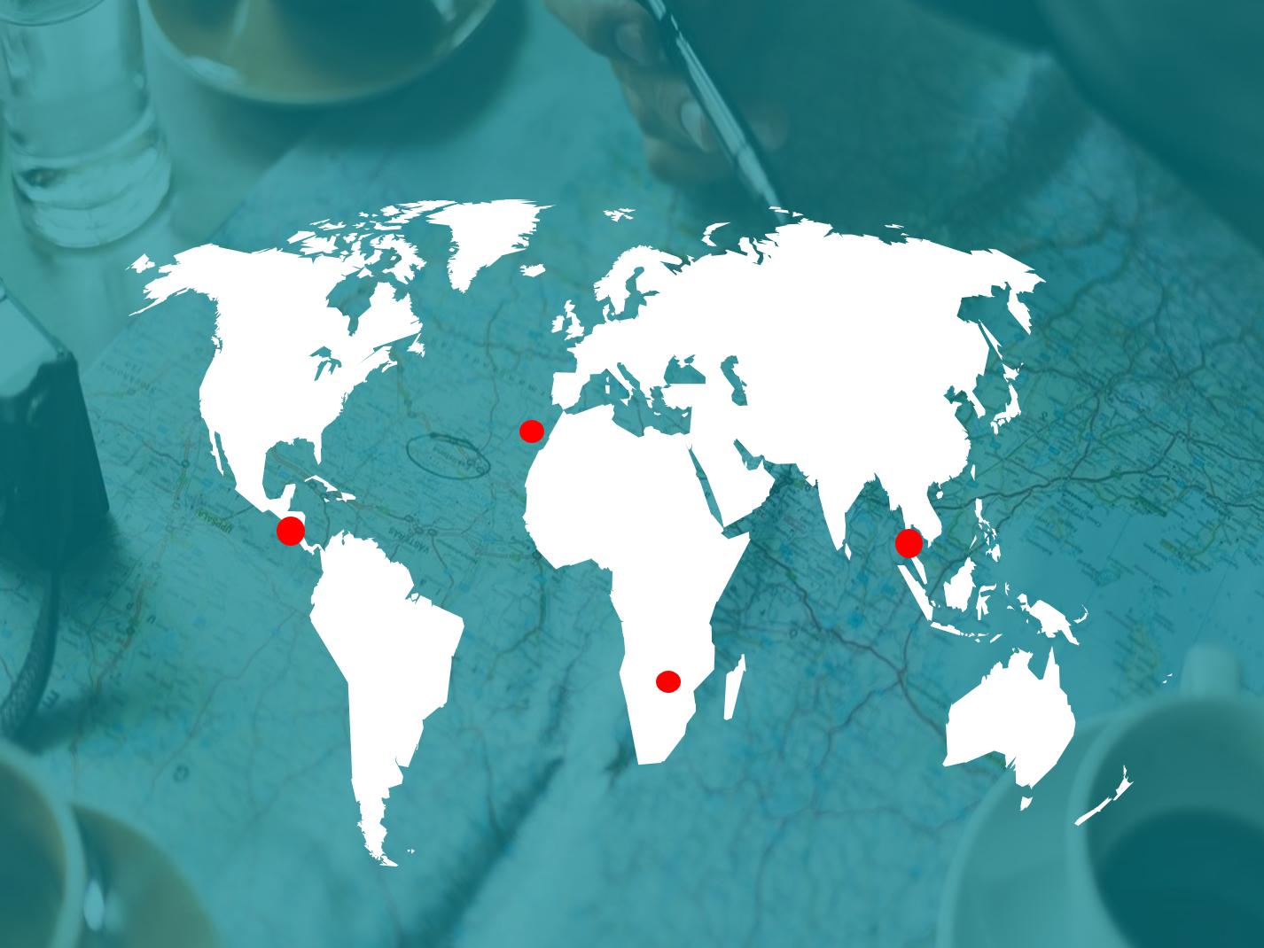 Kohteet jotka Ekomatkaajat ovat valinneet sijaitsevat ympäri maailmaa.