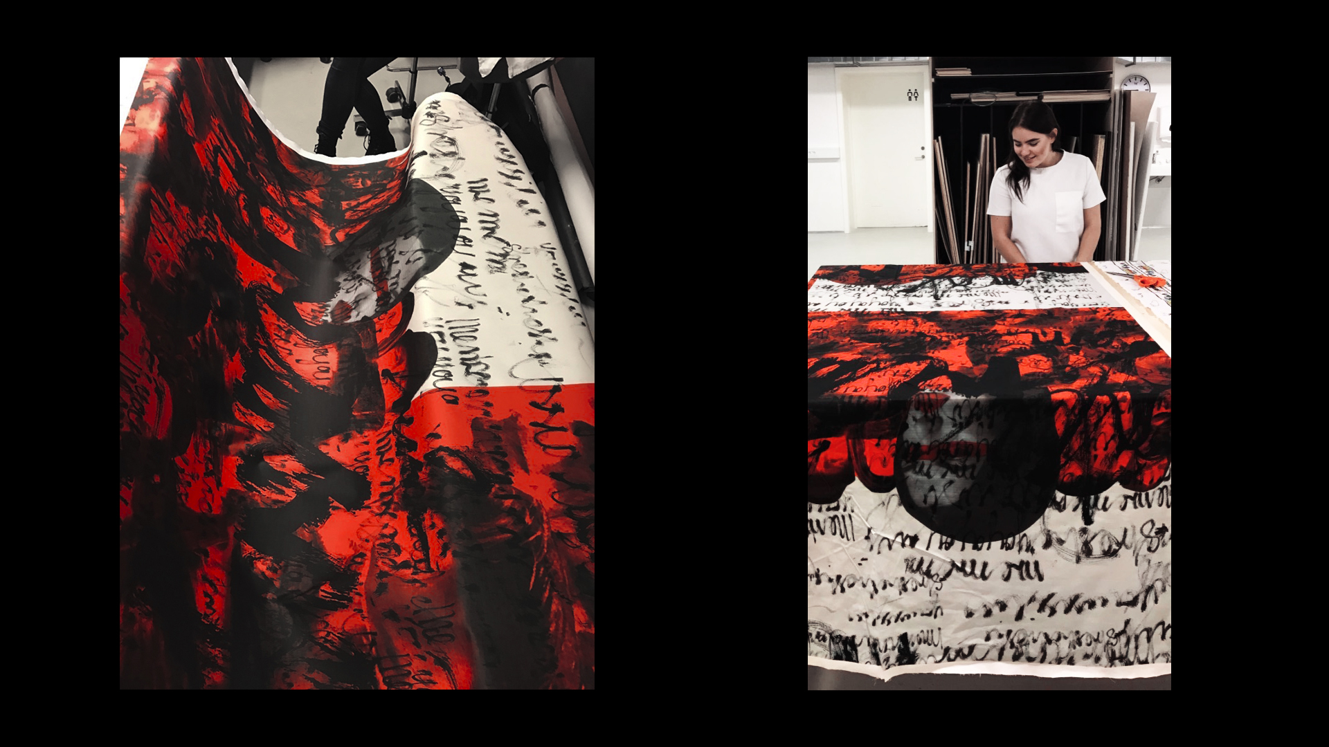 Artwork was printed on 100% cotton in size 150 x 250 cm in scale 1:1