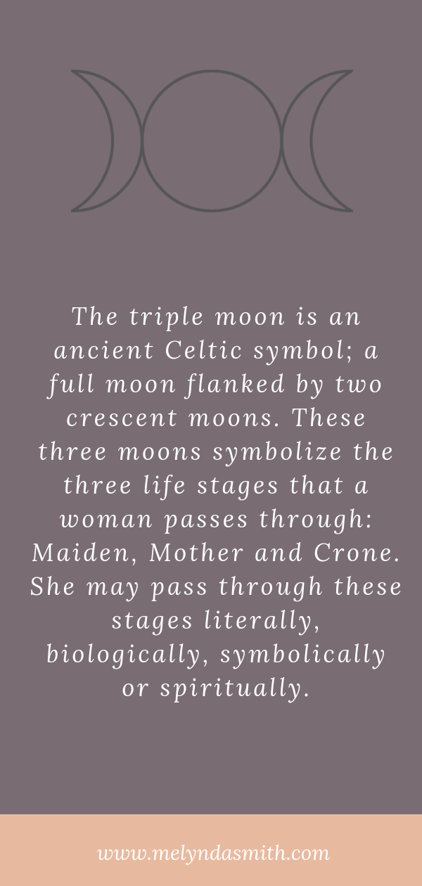 The triple moon image is an ancient goddess symbol representing Mother, Maiden and Crone.