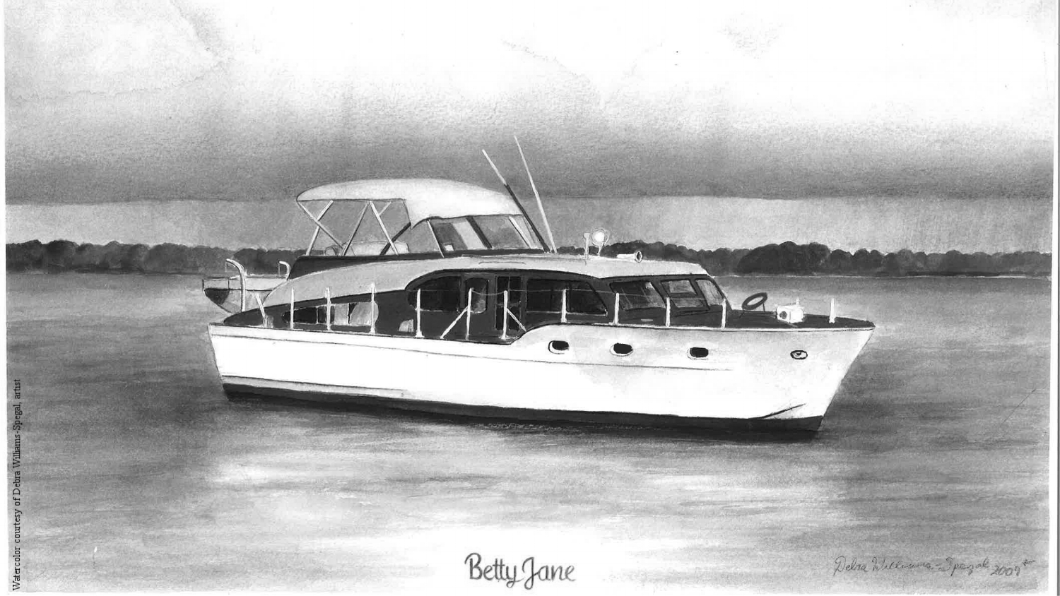 A color watercolor original of  Betty Jane  at anchor outside Aqua Yacht Harbor, Pickwick Lake, Iuka, Mississippi.