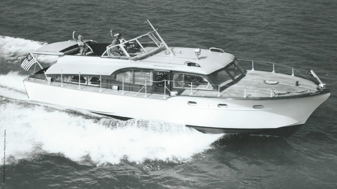 Promotional photograph of 1955 Chris Craft Corsair, forty-five feet.
