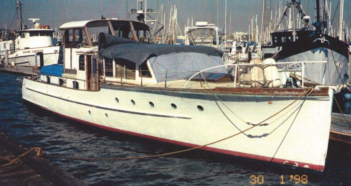 Southwind  as she was found at Cabrillo Marina in San Pedro, California in January 1998.