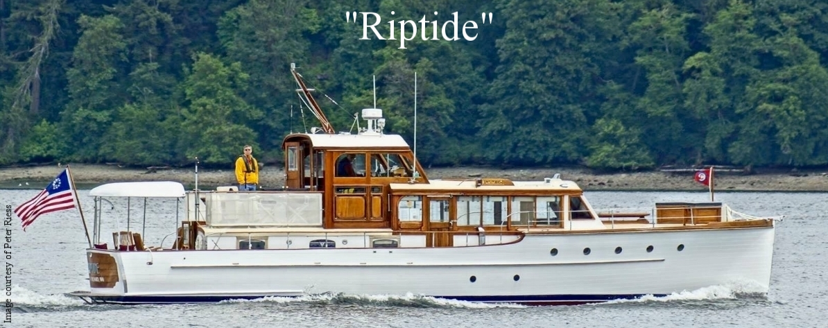 The fully restored  Southwind,  rechristened  Riptide , 1939 Elco, 53 feet. Captain Peter E. Riess and Dennis Ballard, owners and caretakers.