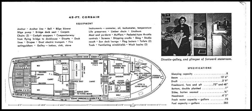 1955 Chris Craft Corsair, 45 feet.