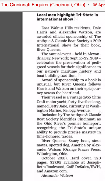 Cincinnati  (Ohio)  Enquirer . April 6, 2019