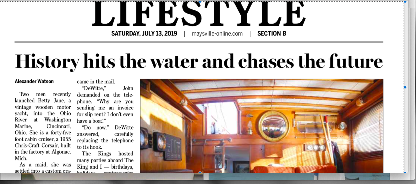 Maysville  (Kentucky)  Ledger-Independent.  July 13, 2019. Click Image for full article.