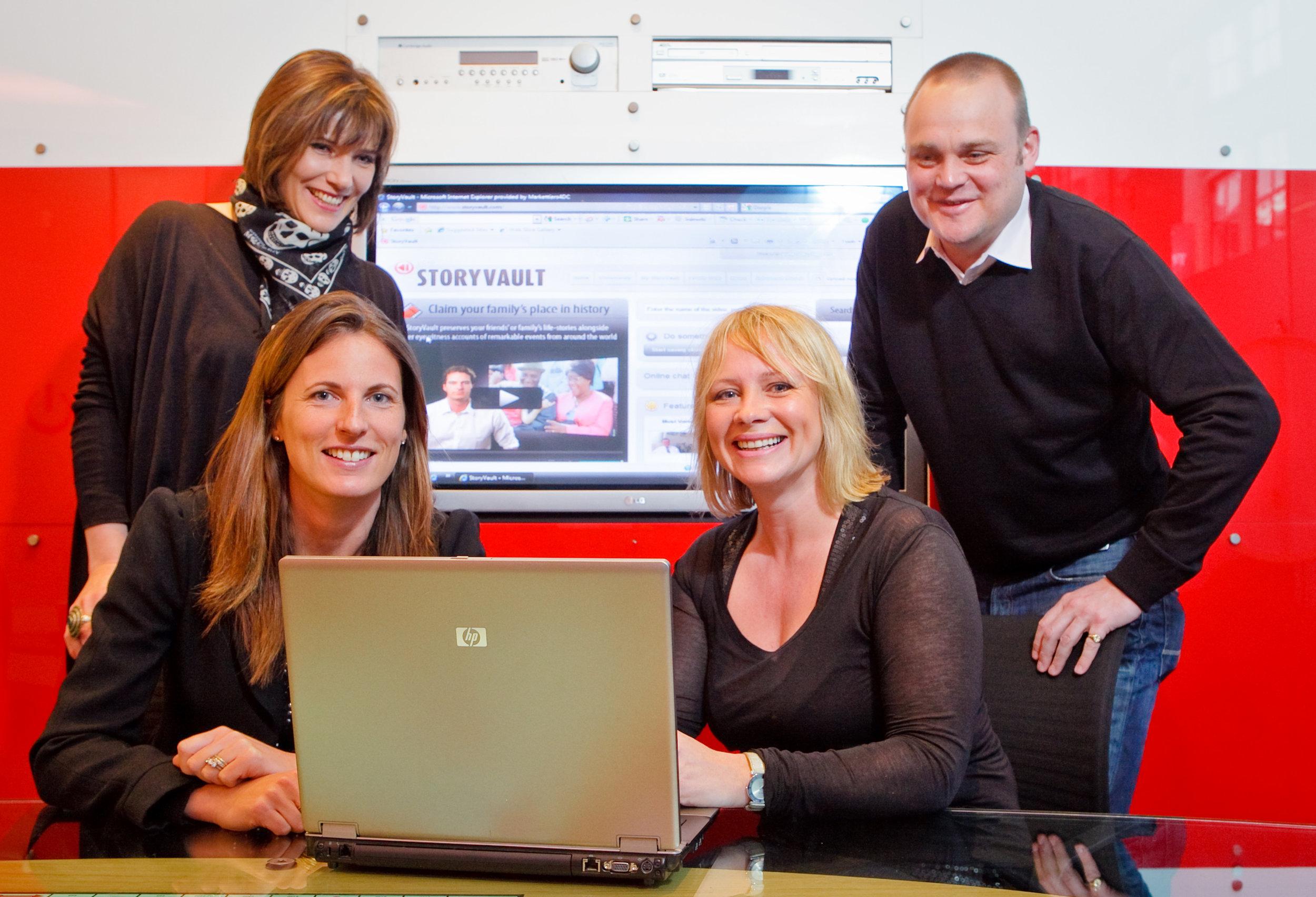 Eye PR Team Launching StoryVault with Prof Tanya Byron and Al Murray.JPG