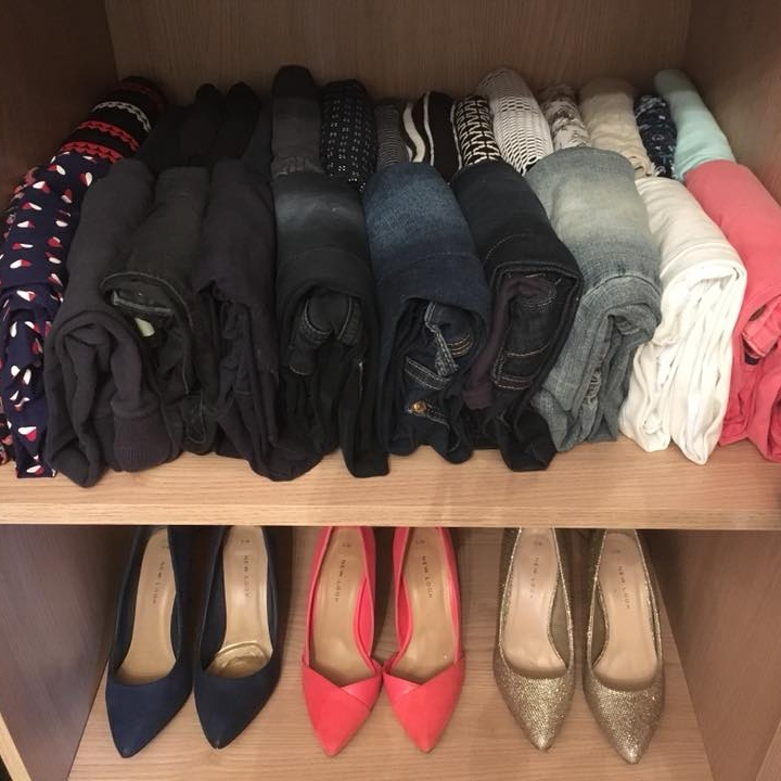 Folded items can be stored on a shelf