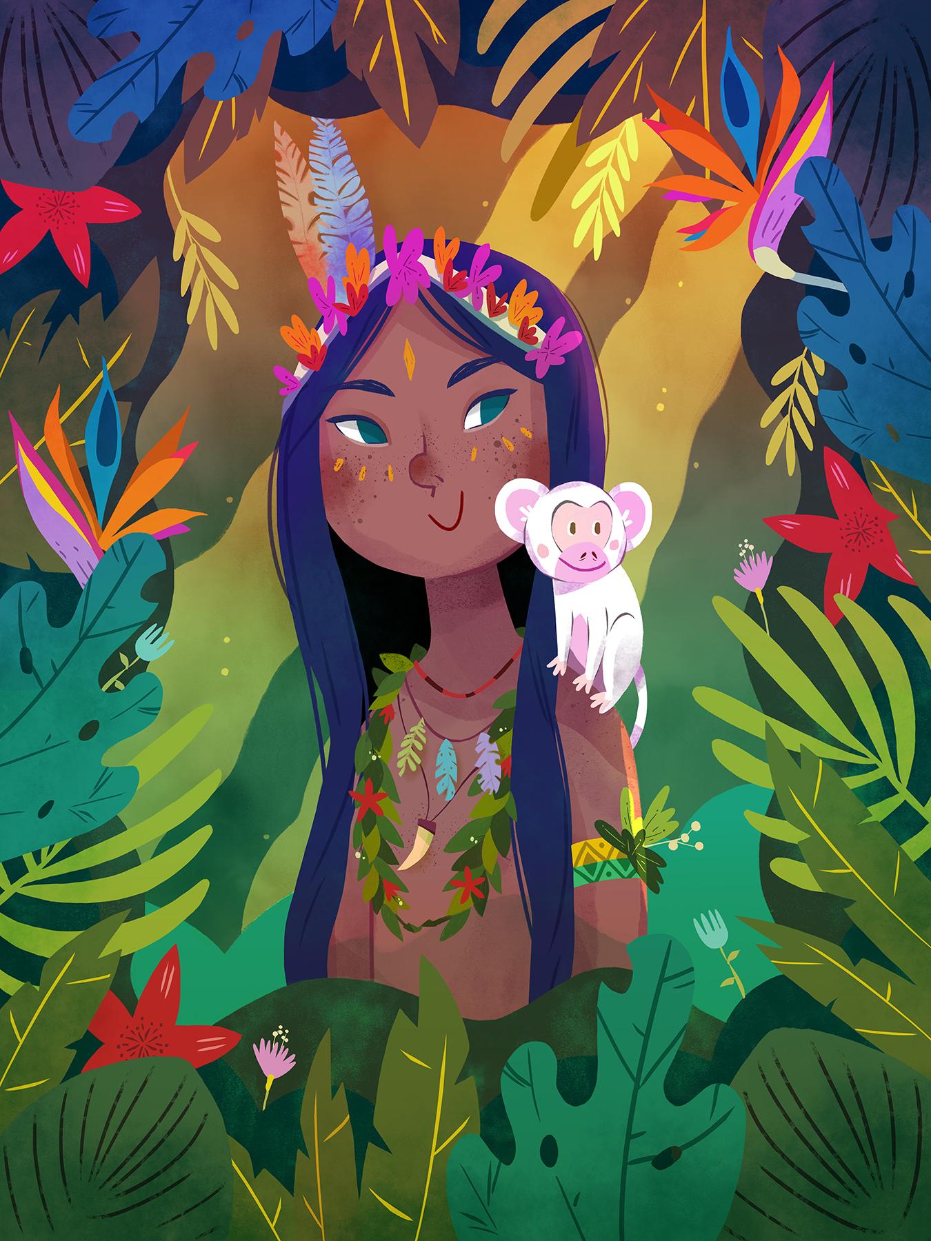 Girl Indigenous in Jungle by Èlia Meraki ©