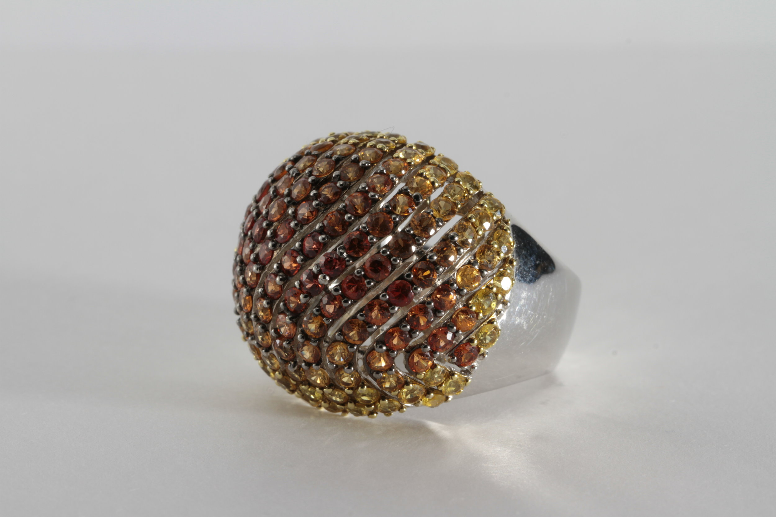 FABULOUS DOME RING WITH MULTICOLOR SAPPHIRE SET IN 18K GOLD - LOOK INTO OTHER PICTURES