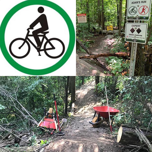 Trails are open this morning but watch for some muddy spots and possible down trees from the recent storms. Note that Adams run will be temporarily closed until the remaining trail modifications are completed and have a chance to firm up. Once opened Adams will have some new challenges up hill and downhill to contend with! #trailwork