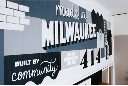 Just finished up this bad boy with my Backdrop team @_il__n + @naomipaperco. - Come see it IRL at the new @milwaukeehome location on National Ave and snag up some mke goods and gifts while you're at it. . . . #milwaukee #mural #muralart #graphicdesign #murals #mke #milwaukeehome