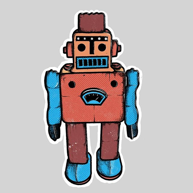 ⚙️🤖Had fun with this lil guy.  Be on the lookout for more toy nostalgia coming your way soon. . . . . #procreate #illustration #children_illustration #childrensbookillustration #robot #toyrobot #nostalgia #behance #graphicdesign #illustrations #artistsoninstagram