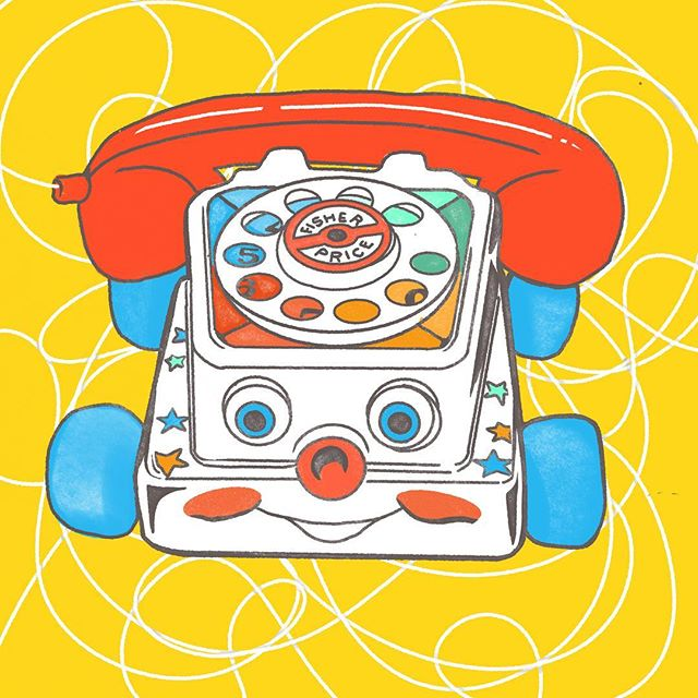 Trustee ol' Fisher Price Chatter Phone. . . . . . #graphicdesign #illustration #childrensbooks #children_illustration #childrenbookillustration #play #phone #chatterphone #fisherprice #classictoys #vintagetoys #90s #90stoys #nineties #throwback #nostalgia #wacky #colorful #procreate #ipad #ipadillustration #ipaddrawing