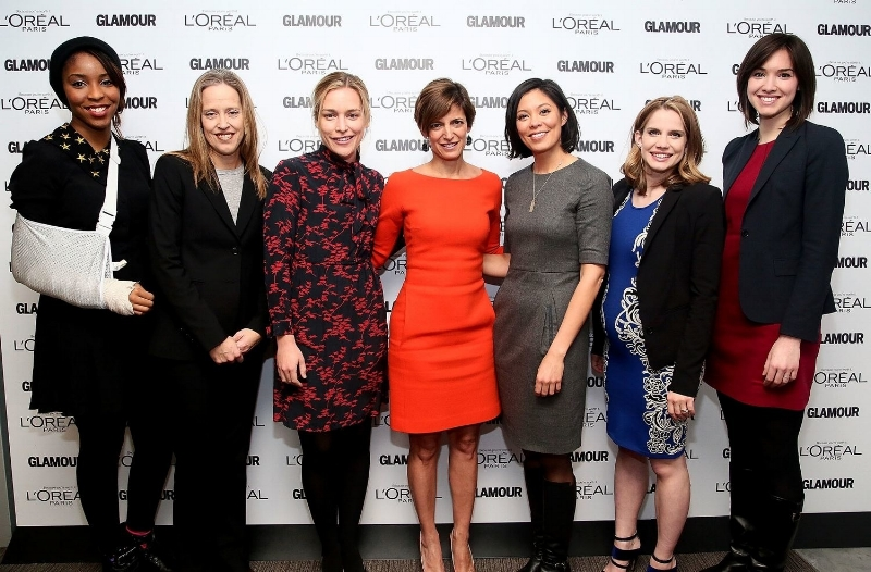 Glamour  Top 10 College Women Event:  Panelists Jessica Williams, Wendy Kopp, Piper Perabo, Cindi Leive, Alex Wagner (moderator), Anna Chlumsky, and Rachel Sterne Haot pose at the April 2013 event at Barnard College in New York City. I worked with  Glamour  colleagues to produce the 2013 and 2014 College Woman of the Year panel events and winner conferences.