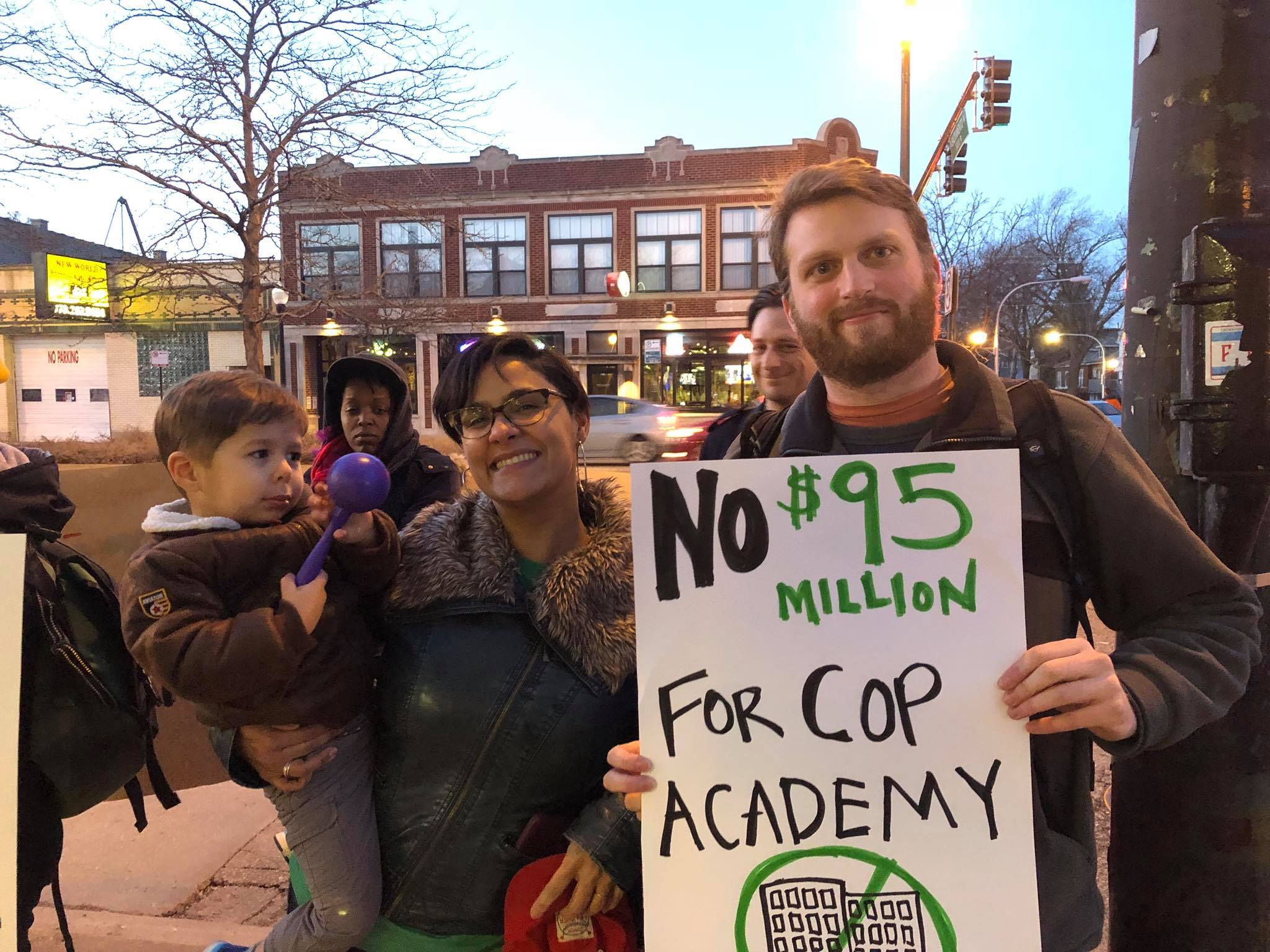 Rossana Rodriguez outside 33rd Ward Alderman Deb Mell's office protesting against the $95 million Cop Academy.