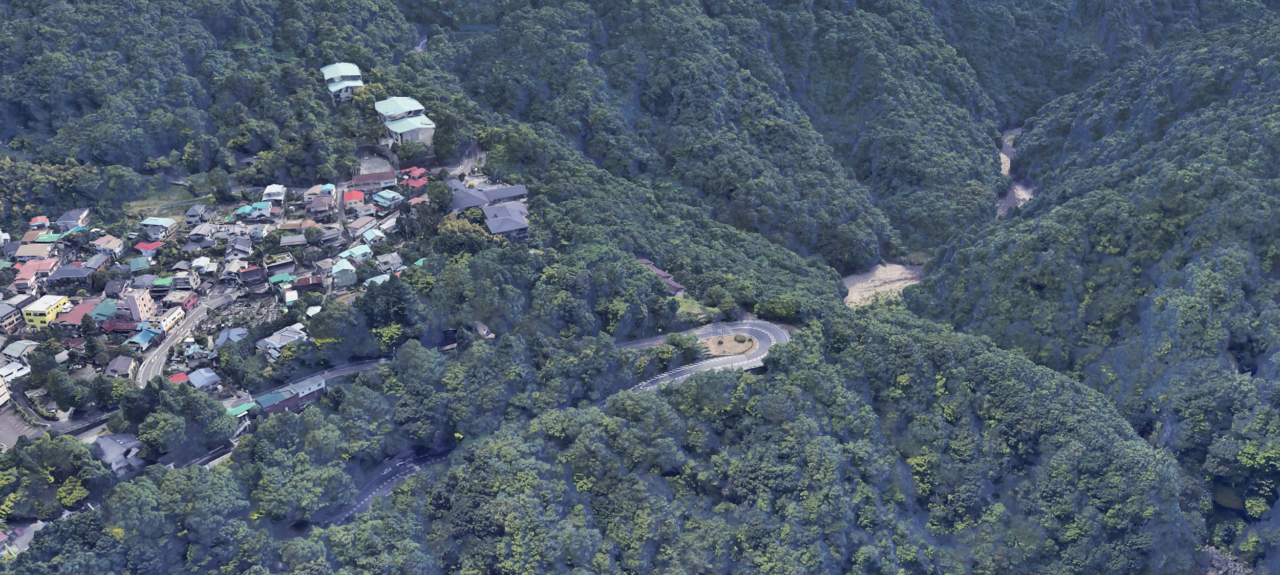 A Google Earth view of Hakone. This image was my eventual inspiration for the background of the piece.