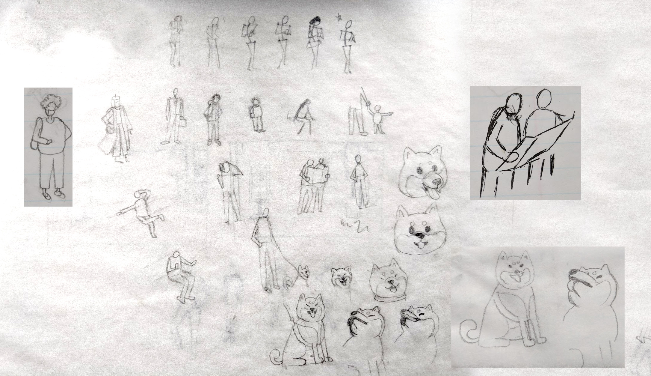 My initial crappy sketches. Take note of how much time I spent drawing the dog. This is simply because I am obsessed with Shiba Inus. No more, no less.