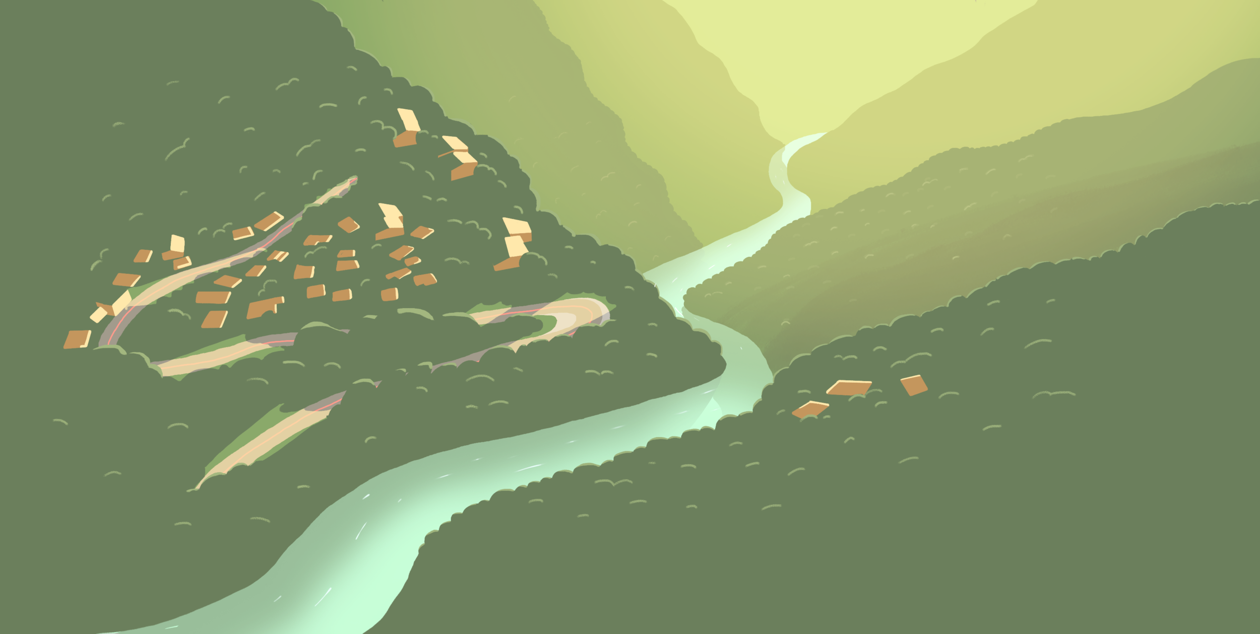 The scene's backdrop. Inspired by the Google Earth image I showed earlier. I illustrated a lot more here than I needed, but this stuff is just too much fun.