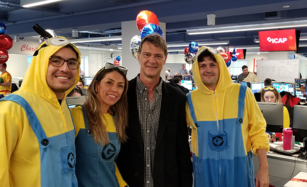 Don Mattingly with the Minions on the ICAP Floor 2018.jpg
