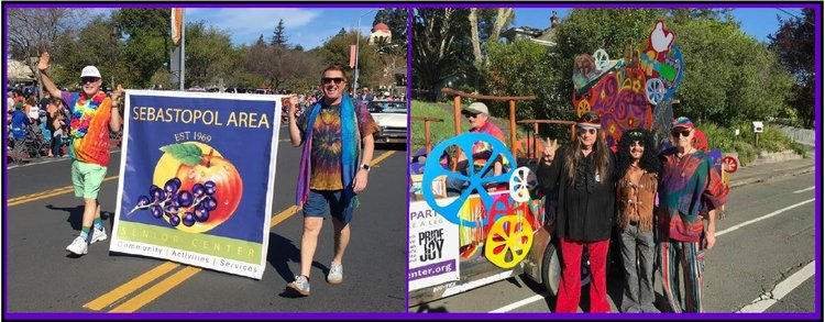 (L) Nick & I carrying the banner in the Apple Blossom Parade. (R) Our float won 2nd place in the recent Apple Blossom Parade, with float designer Alan Beckstead, (haircutting) volunteer Danny, and our friend Steve decked out in 60's attire.