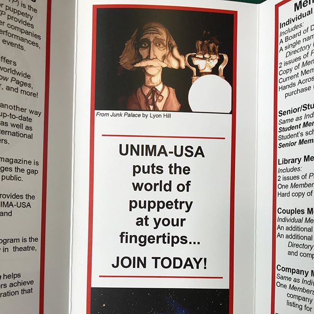 At the @puppeteers_of_america Puppet Paradise 2018 Festival, and found that I'm featured in an UNIMA-USA pamphlet.