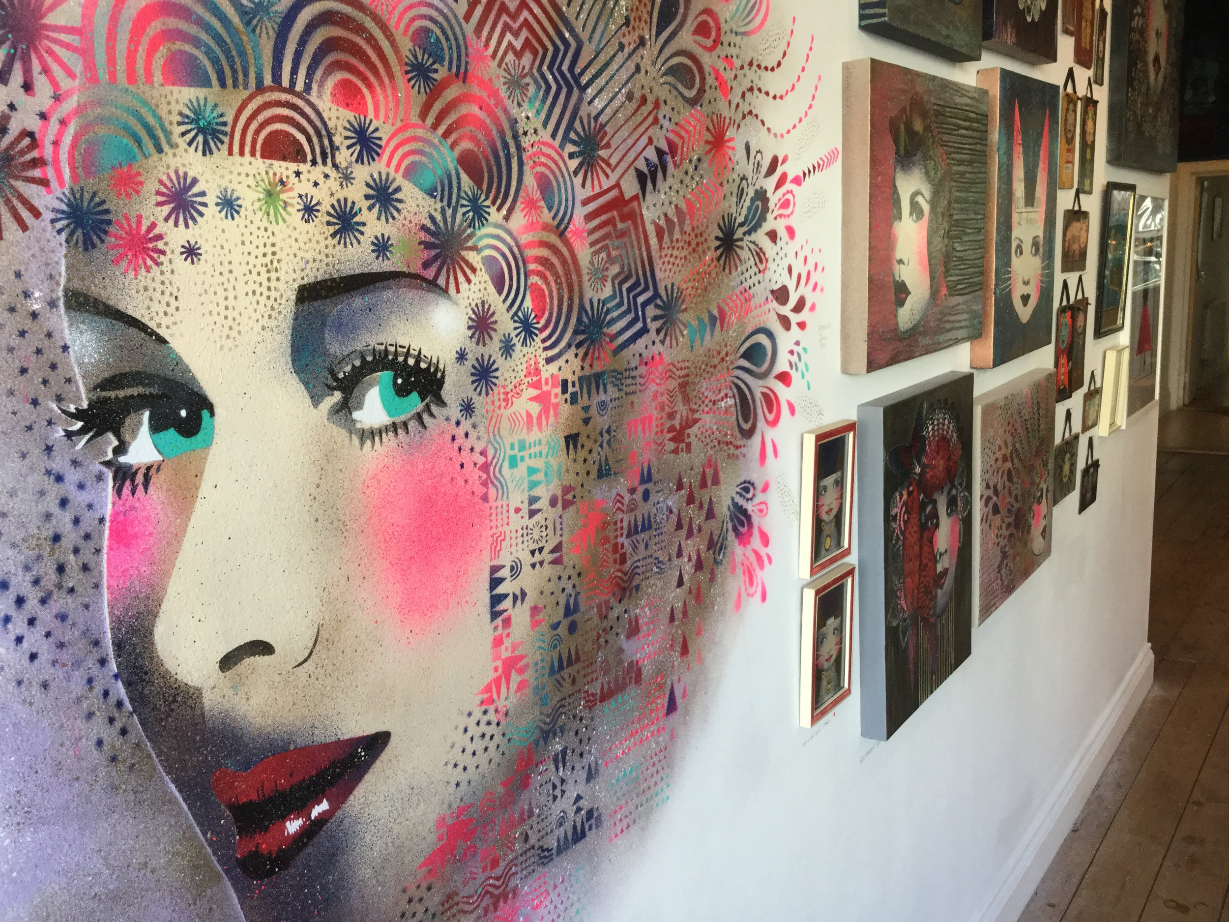 'In your Face' Solo Exhibition - Various works as part of solo show.Photo credit: Street Art Atlas