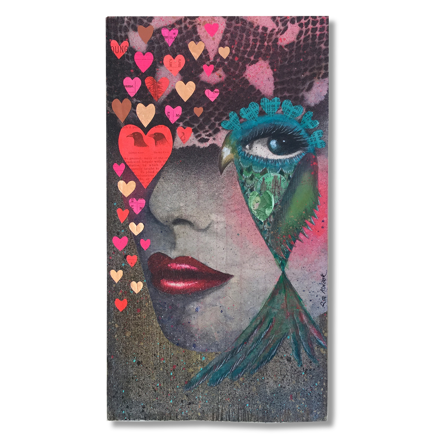 'My Hearts Desire' Collage on wooden panel, uses acrylic paints, spray paints, vintage book pages, neon paint, rose gold leaf, antique papers, antique postage stamps.  Available from the  Shop