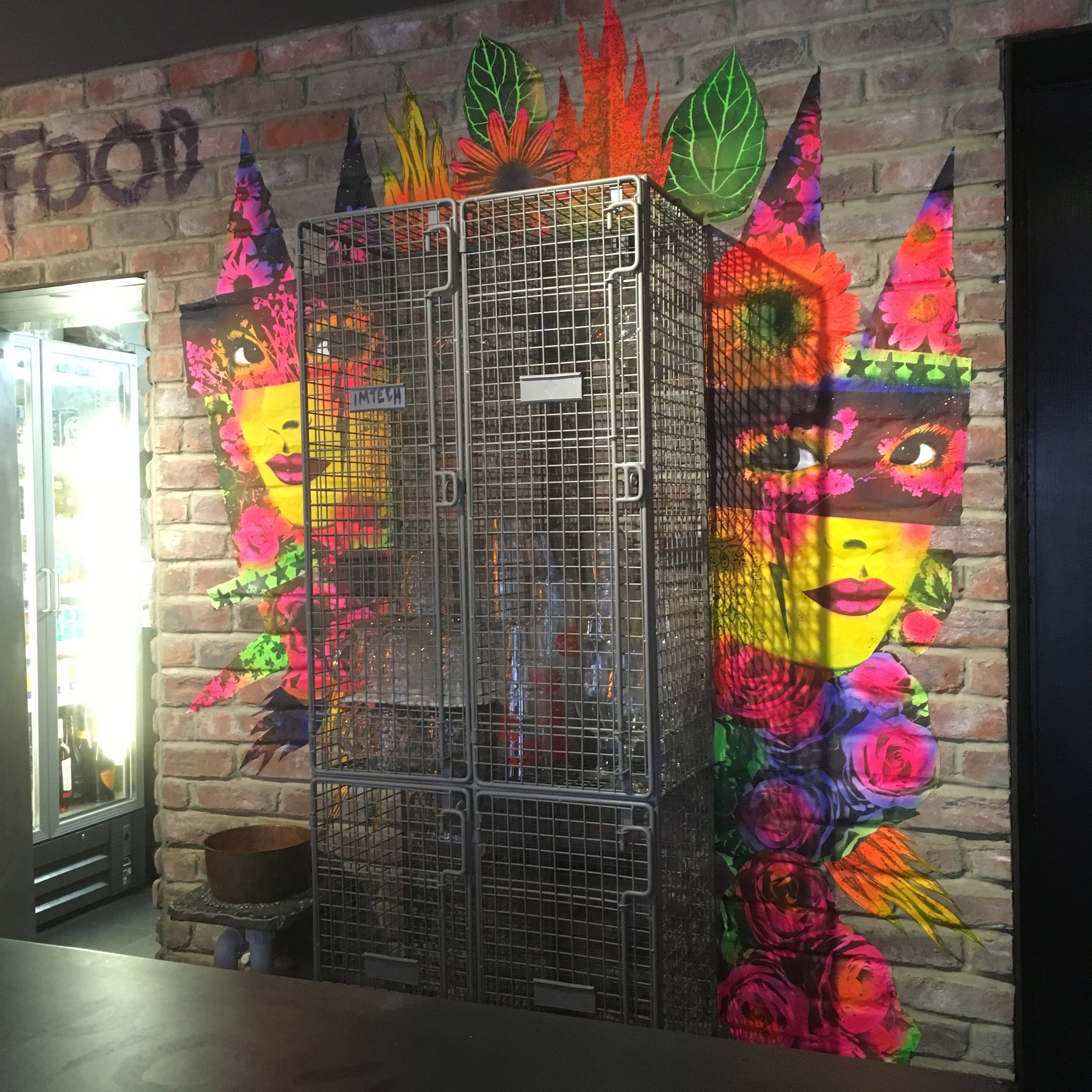 'Reflection of Neon' - A riot of colour enhances the wall in Bangerz n Brewz, Southsea