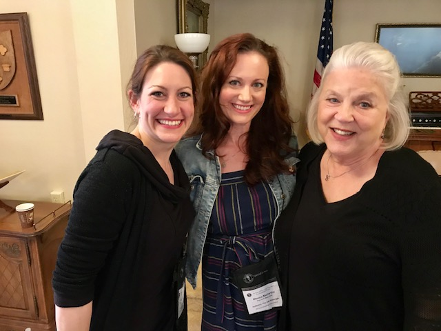 Monica McCarthy with the actresses from the first public reading of To Grandmother's House at the Inge Festival