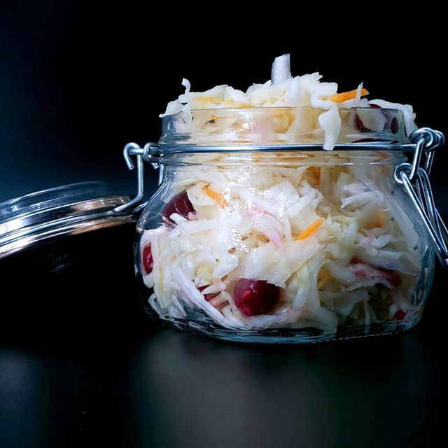 Did you know that #fermented food contains #probiotic bacteria, which is beneficial for your digestive system?  Fermentation is one is the oldest, natural preservation techniques and modern science confirms it has a positive effect on our immune systems!  Our #sourcabbage has exactly two #ingredients: white cabbage and salt. If you want to be extra fancy try it with #cranberries for an extra layer of taste and some carrots for crunch.  Eat, enjoy, be healthy... By #yoursfreshly