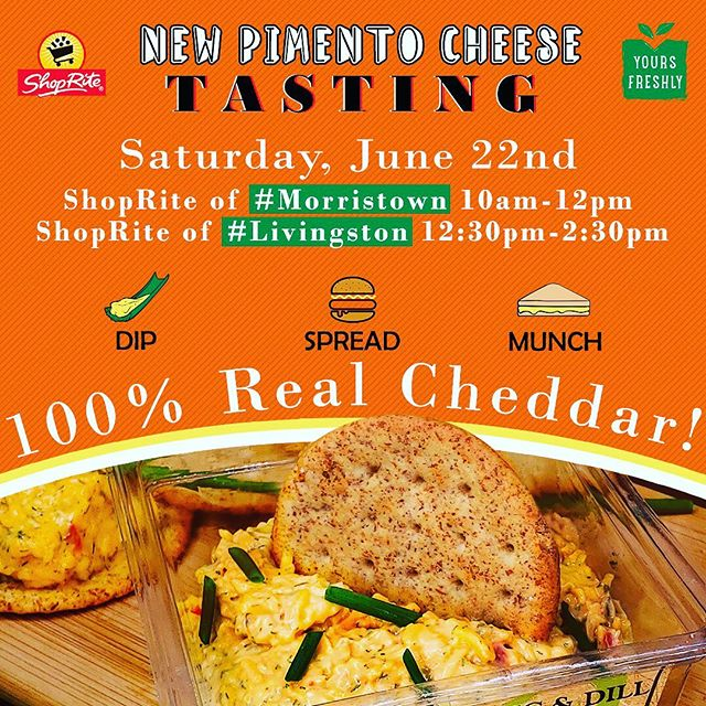 Join us on Saturday, June 21st for a free #tasting at your ShopRite in #Morristown and #Livingston. You will have a chance to try all three flavors of our #pimentocheese. Stock up for your #fourthofjuly party and surprise your friends with a burst of flavors!  Ask your local ShopRite for Pimento Cheese by #YoursFreshly