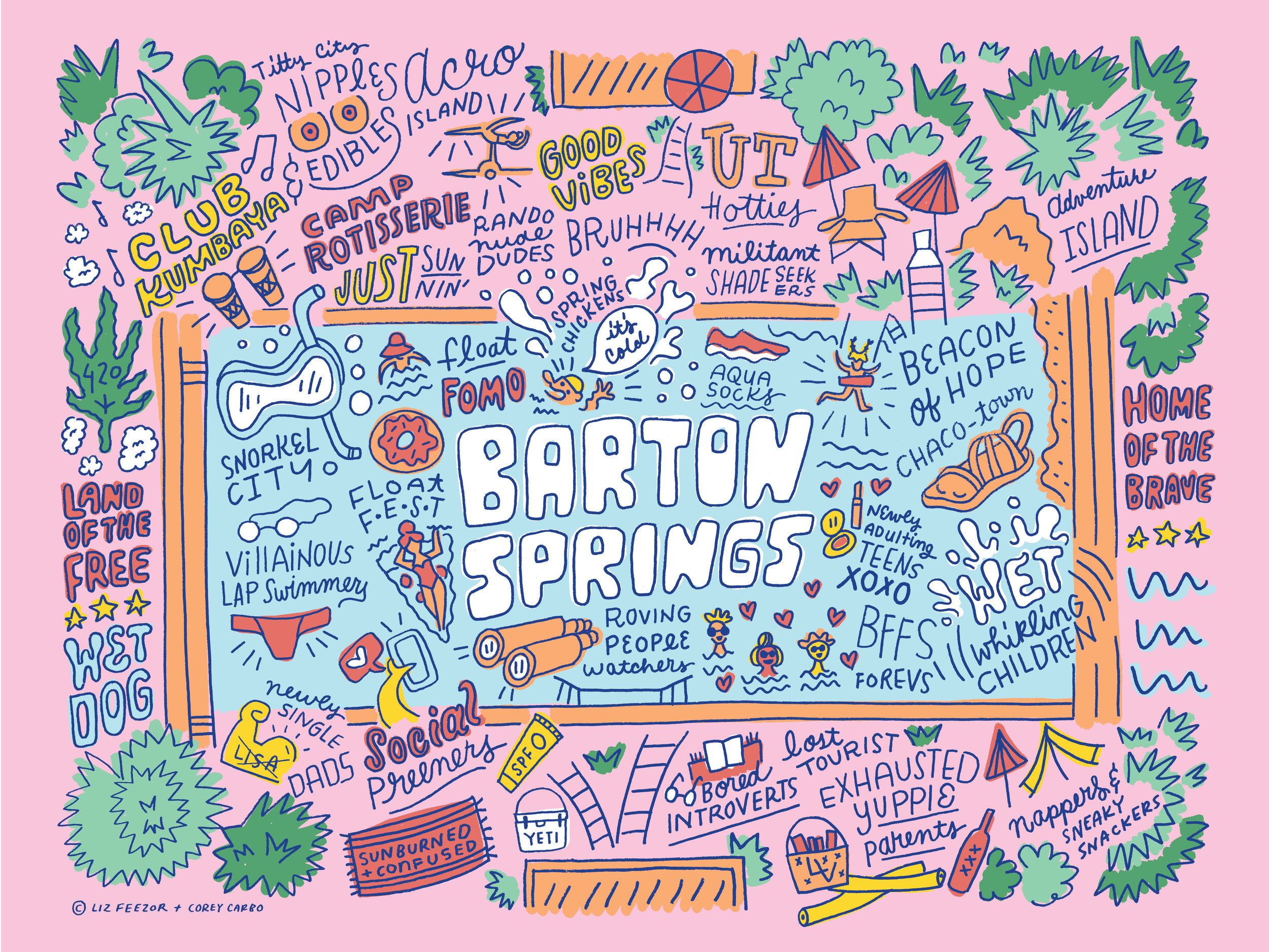 Liz Feezor Corey Carbo map Barton Springs Austin