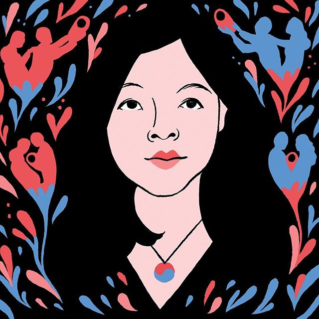 """Portrait of Nicole Chung for @paper_darts magazine! Nicole's beautifully written memoir, """"All You Can Ever Know"""" examines her experience of being an Asian transracial adoptee raised in a small town by a white family. This was a blast to make, thanks so much @a.maybeing for the art direction!"""