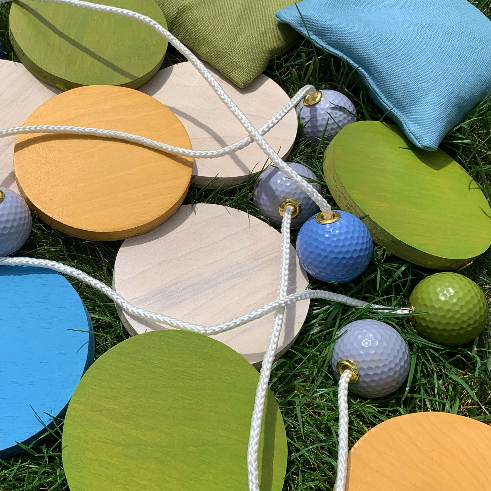 Bags +Bolas +Discs - Custom colored accessories to match your eventAll game accessories are hand-made and custom colored. They'll be sure to impress at any event.