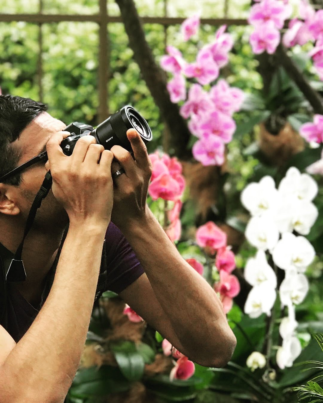 Chandra taking photos of orchids.JPG