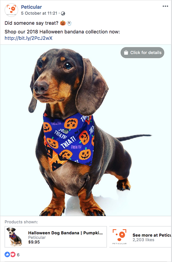 Peticular's halloween-themed Facebook post