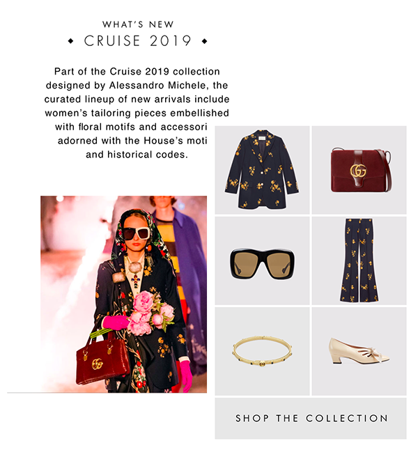 Several Gucci online products spread over a webpage. A button at the bottom states 'shop the collection'.