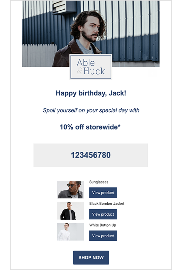 Abel & Huck's Happy Birthday automated email flow