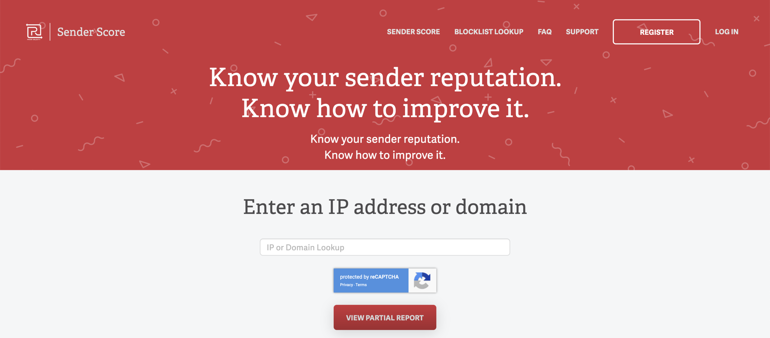 Sender Score's homepage allows you to check the sender reputation for your web domain