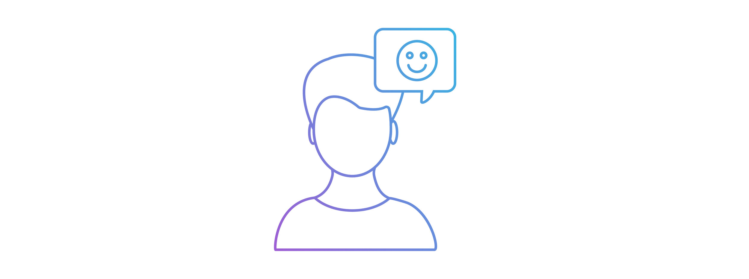 Marsello-created graphic. An outline of a person with a smiley-face in a conversation bubble.