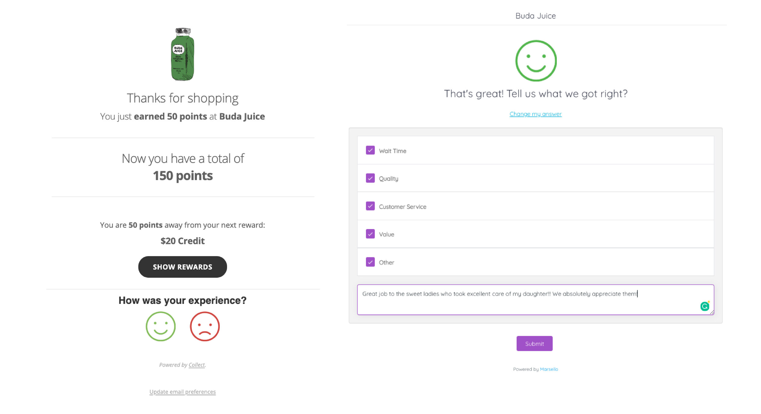 A BudaJuice email which contacts customer feedback prompts