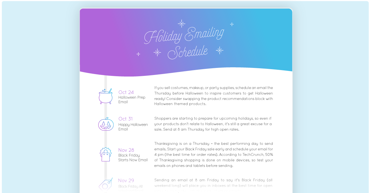 Marsello's holiday email marketing schedule
