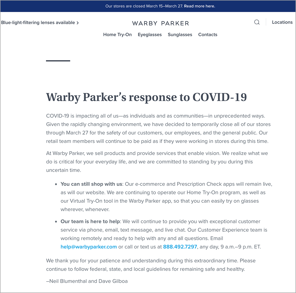 Warby Parker created a landing page and floating banner to communicate about Coronavirus (Covid-19)