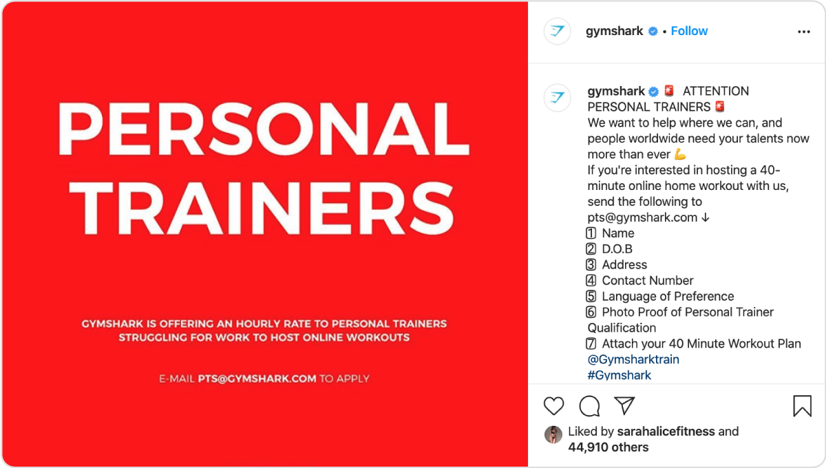Gymshark offers personal trainers a covid-19 deal.