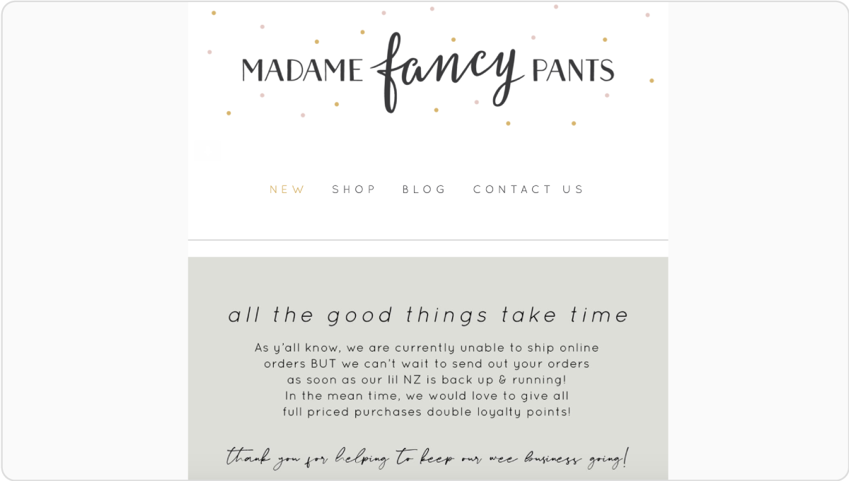 Madame Fancy Pants keeps customers up to day using Marsello's One-off Email Campaigns