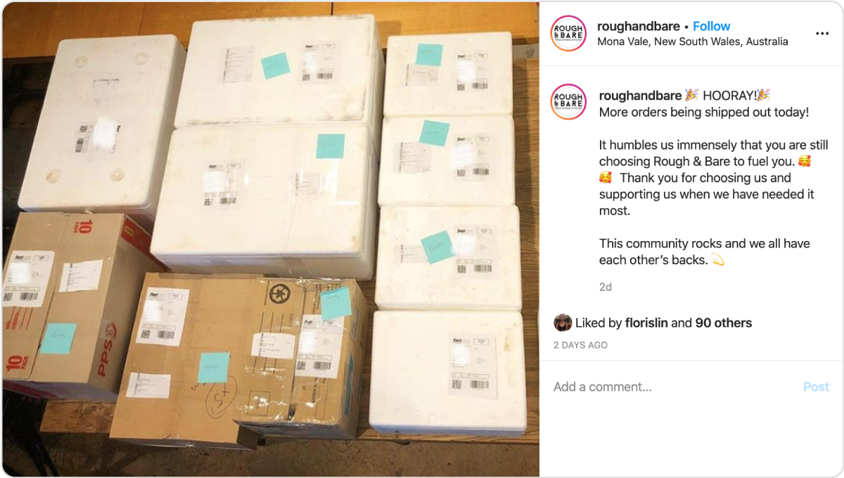 Rough & Bare uses Instagram to update customers and encourage them to keep shopping.