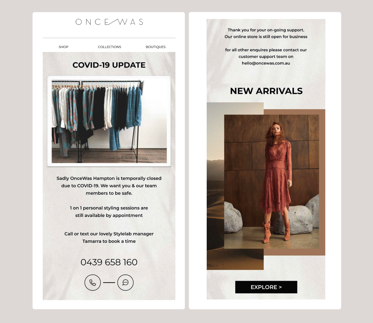 An email campaign from OnceWas providing customers with a COVID-19 store closure update.