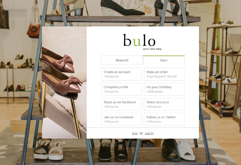 Bulo Shoe's loyalty program's online widget.